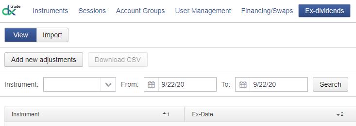 Ex-Dividends widget in DXmc
